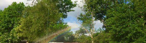 Sproeien met wat kleur in de lucht